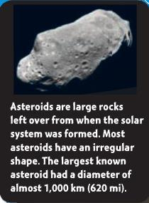 Asteroids An asteroid is made of rock and metal.