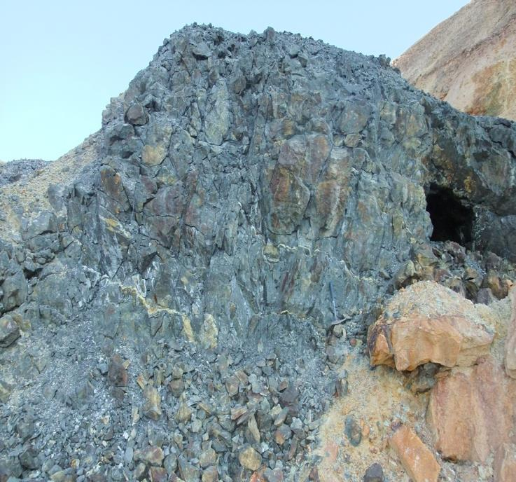 sampling of outcropping massive sulphide yielded: