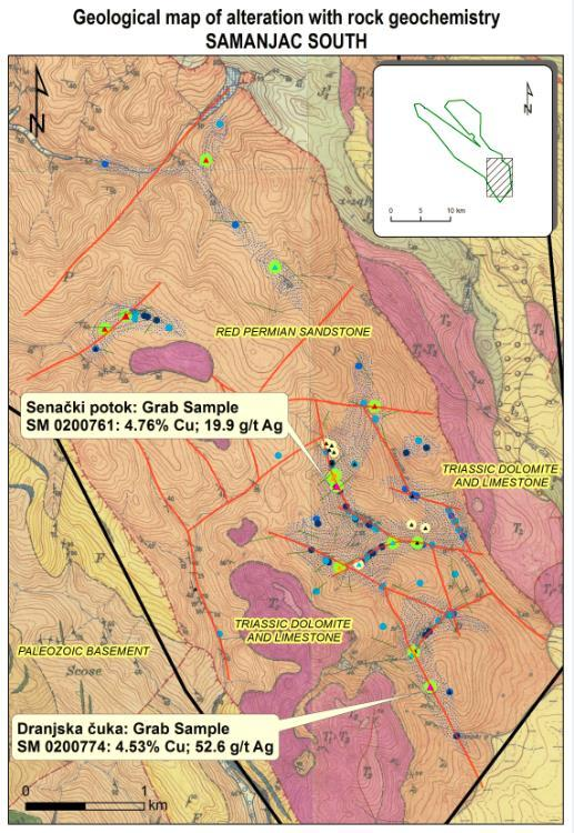 Sedimentary Copper Projects Samanjac Samanjac South excellent prospecting results Two areas of historical