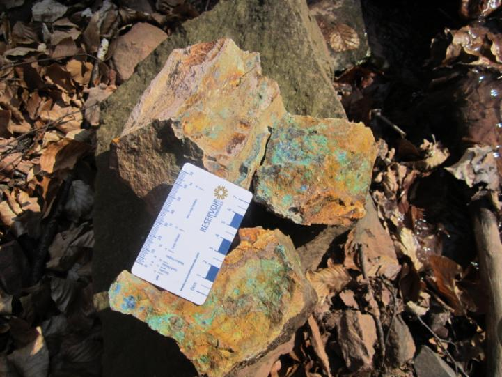 of red micaceous sandstones with bleached intervals containing nodules of Cpy-malachite and pyrite, good copper