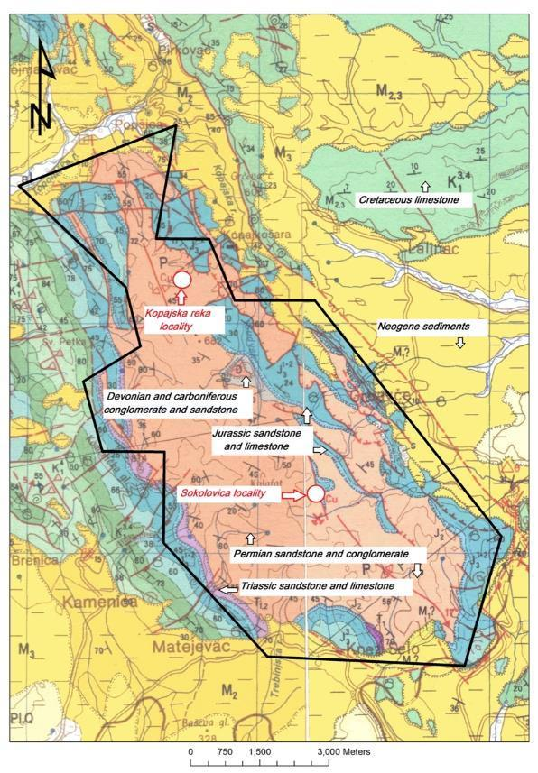 Sedimentary Copper Projects Kopajska Two mineralised localities identified, of which Sokolovica provides most encouragement Mineralisation (azurite, malachite) occurs in organic-rich