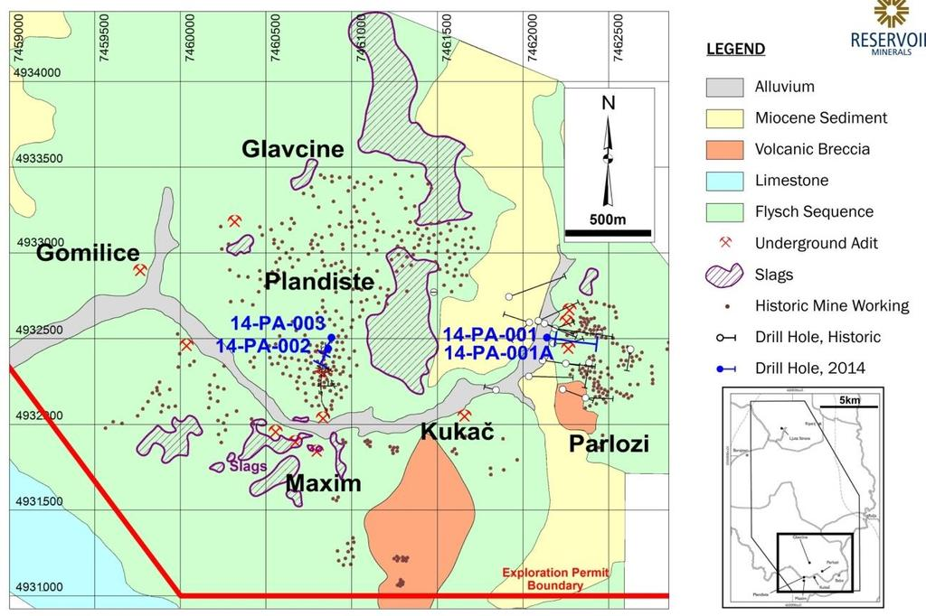 Parlozi historical drilling plan view Extensive (3.5 km by 3.