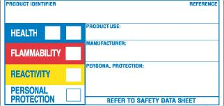 Symbolic Labels HMIS label Similar to NFPA label Blue, red and yellow