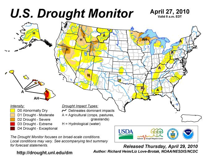 The drought index after two wet La Nina years and an atypically wet El Nino even into the western Corn Belt is wetter this year though there are hints in the