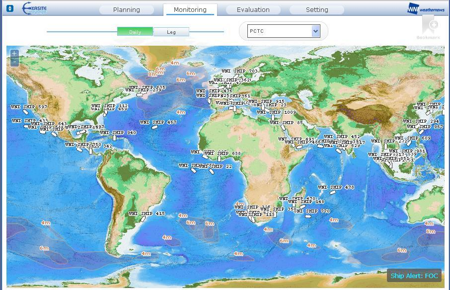 Fleet Display Fleet Display in the sub-menu shows your vessels locations with weather information on the world map.