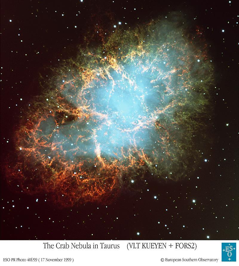 Supernova Remnant Crab Nebula in Taurus, M1, NGC 1952 First Observed April 4, 1054 AD 8.