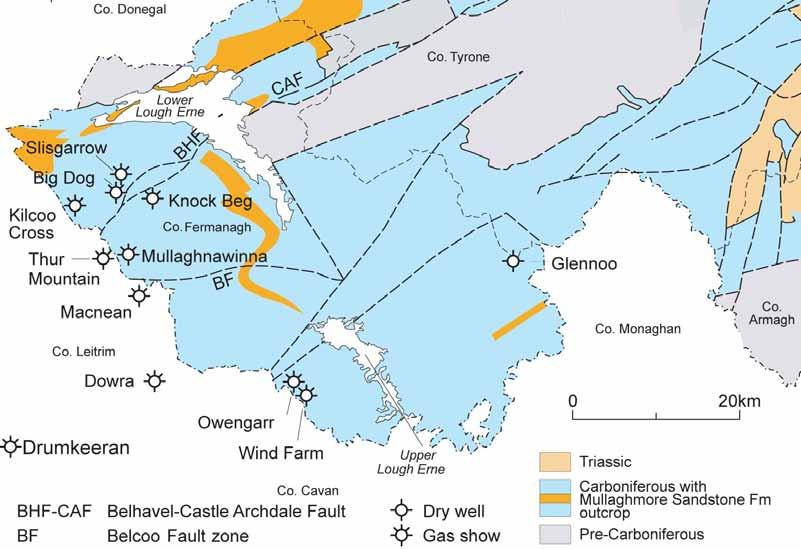 Exploration in the Northwest Irish Carboniferous Basin Source Carboniferous shale Reservoir