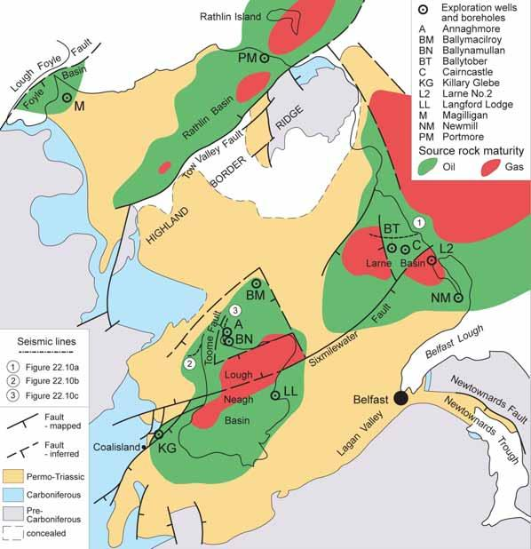 Northeast Permo-Triassic Basins Source: Carboniferous coal/shale Reservoirs: 1. Carboniferous sandstones 2. Early Permian sandstones 3.