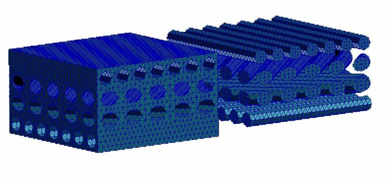 MESH MODELING OF ANGLE-PLY LAMINATED COMPOSITE PLATES FOR DNS AND IPSAP because of complex structures. One unit cell consists of 60,000 DOF and 110,000 elements.