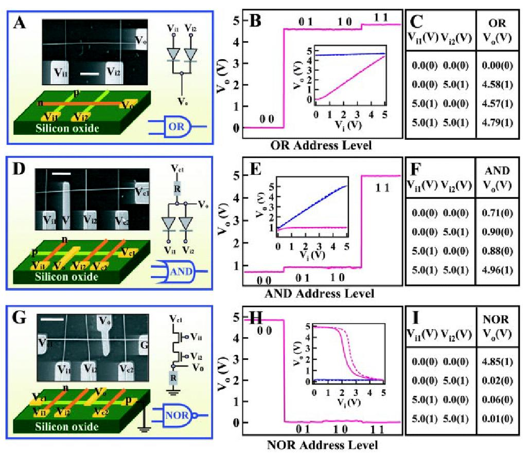 Logic Gates and Computation from Assembled Nanowire Building Blocks *p-si and n-gan NWs The OR and AND gates