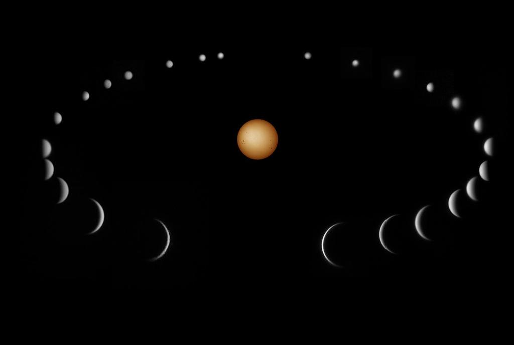 Compilation of actual photographs of Venus taken through a telescope by Dave Smith between July 2010 and