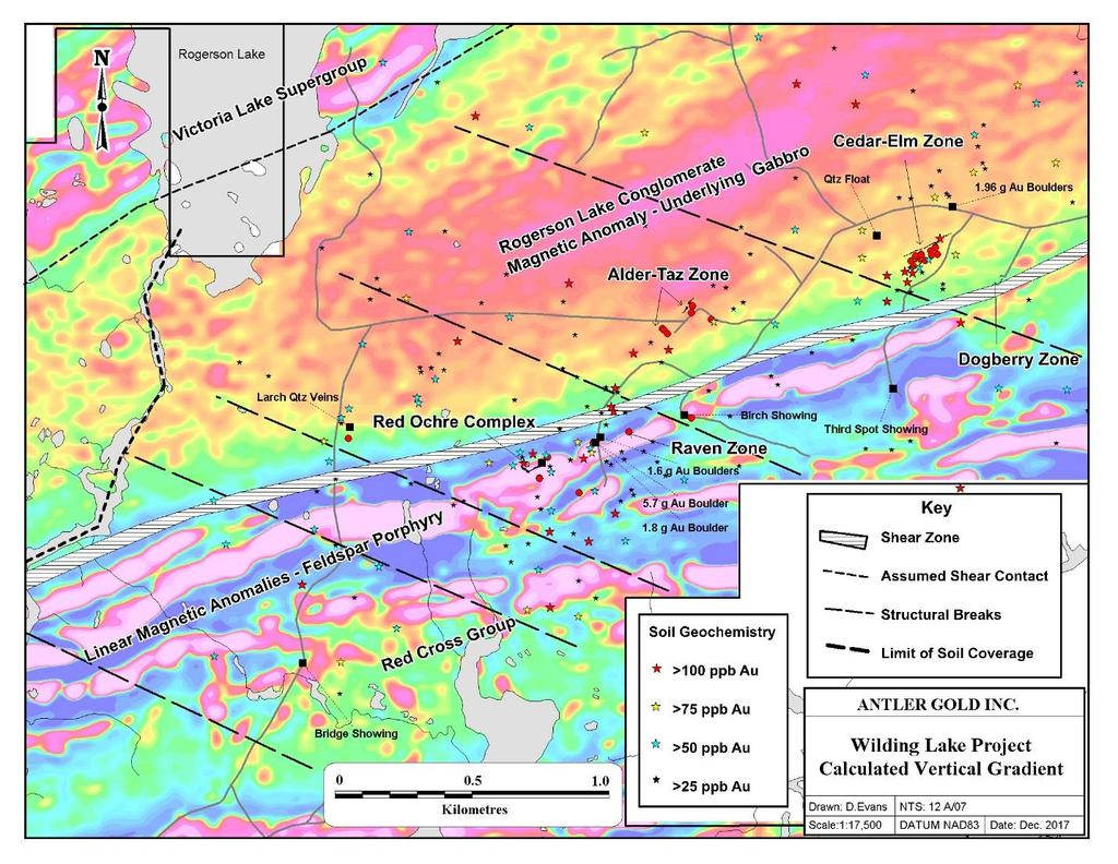 - 9 - Figure 2: Gold targets that occur within a number of different geological settings on the Project that include regional shear (deformation) zones, shear contact, structural breaks, linear