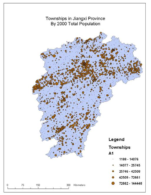 Figure 2. The 2000 Population by Townships of Jiangxi Province, China Figure 2 displays townships as symbols on the map of Jiangxi province.