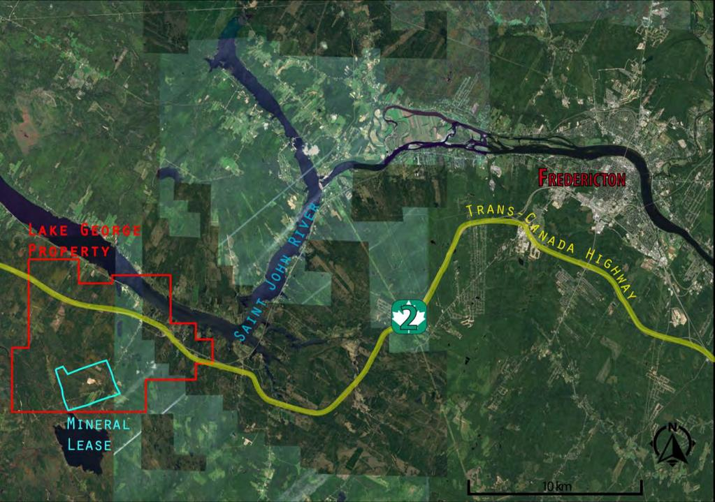 Lake George New Brunswick is a mining-friendly jurisdiction 30 km west of Fredericton. Secondary roads crosscut the property. Trans-Canada Highway cuts across project claims.