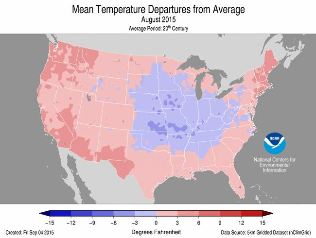 Based on NOAA's Residential Energy Demand Temperature Index (REDTI), the contiguous U.S. temperature-related energy demand during August was 37.