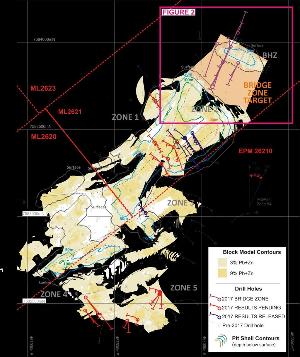 Pegmont Exploration Drilling Further exploration holes are planned as part of the 2017 drilling program, including the Copper target to the south west of Pegmont, where previous Vendetta drilling
