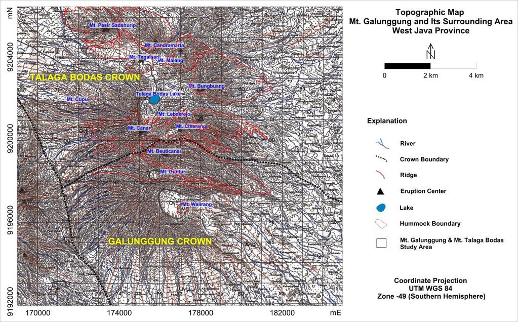5th ITB International Geothermal Workshop (IIGW2016) Figure 5. Topographic map of Galunggung Volcano 1:50.