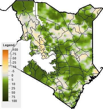 Kenya: Given the overall good performance of the 2015/16 short rains season in Kenya, it is unlikely that localised dry conditions will have a major impact on vulnerable