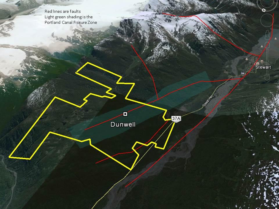 The image below is looking southeast and shows the property in relation to Stewart and highway 37a. The Dunwell mine itself is within 2 km of the highway and power line running through the valley.