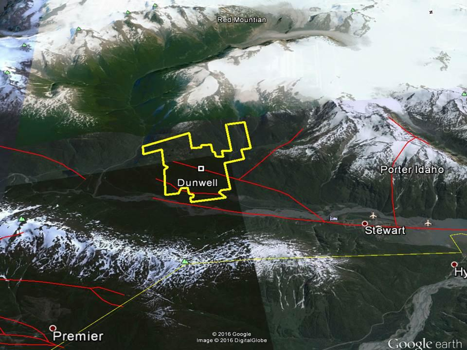 The following image shows the location of the Dunwell Mine Group on the left, the Porter Idaho property on the right, the Premier property (Ascot Resources now putting back into production) in the