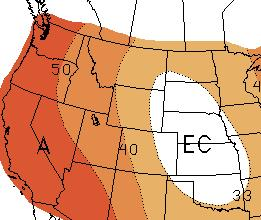 The Climate Prediction Center is calling for an increased chance of above normal temperatures for the western two-thirds of Wyoming this summer, including the Wind River Region (see map below left).