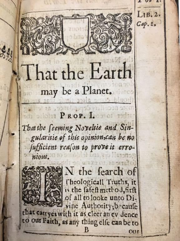 Page from 1640 text in the KSL rare book collection That the Earth may be a Planet the