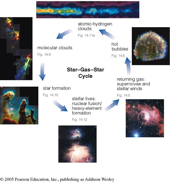 Star-gas-star cycle Recycles gas from old stars into new stars.