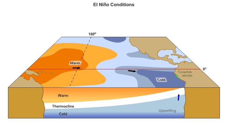 El Nino Trade winds that move warm water to western Pacific