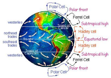 Winds of the World Coriolis Effect also moves air masses Clockwise in the N Hemisphere (and CCW