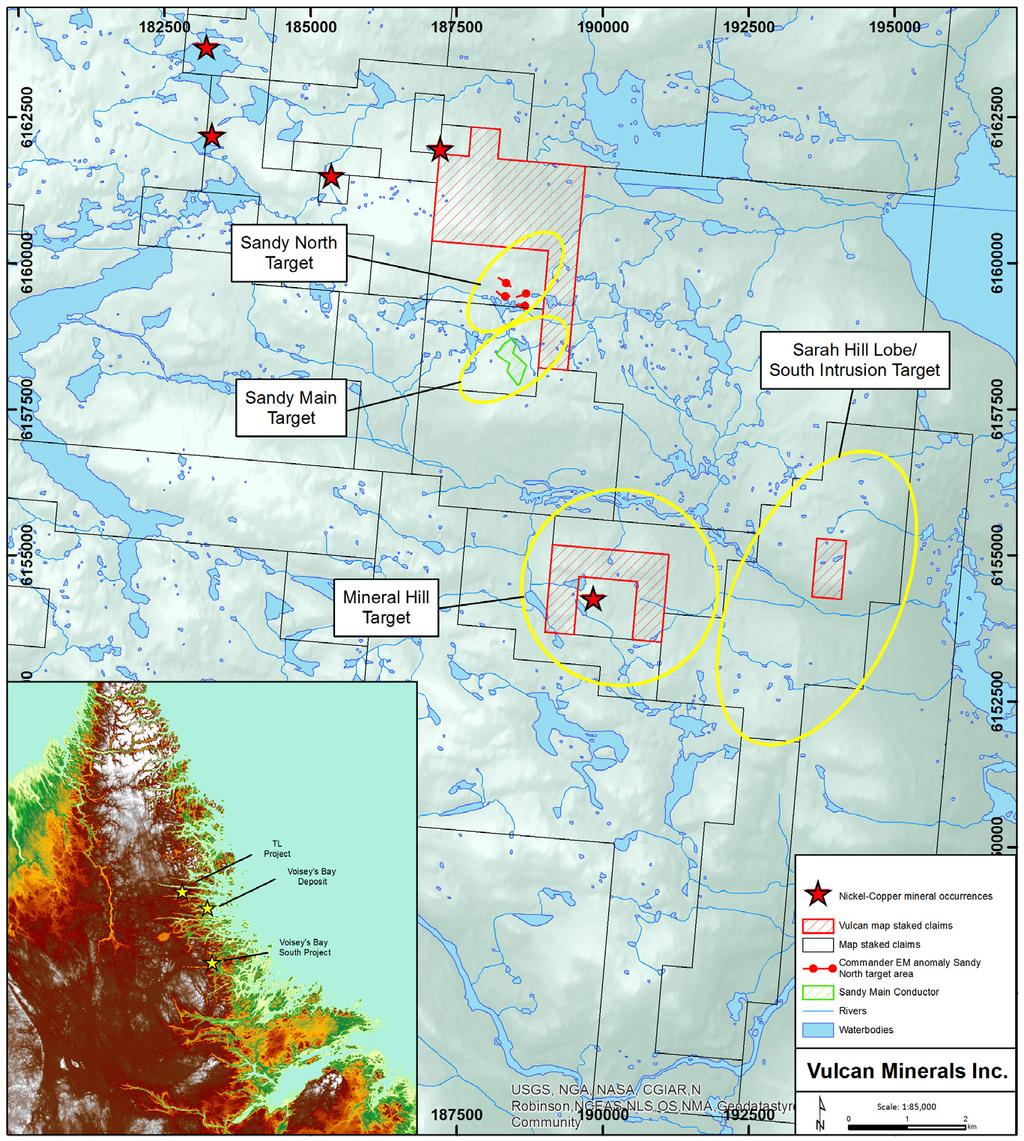 Vulcan Minerals claims distribution