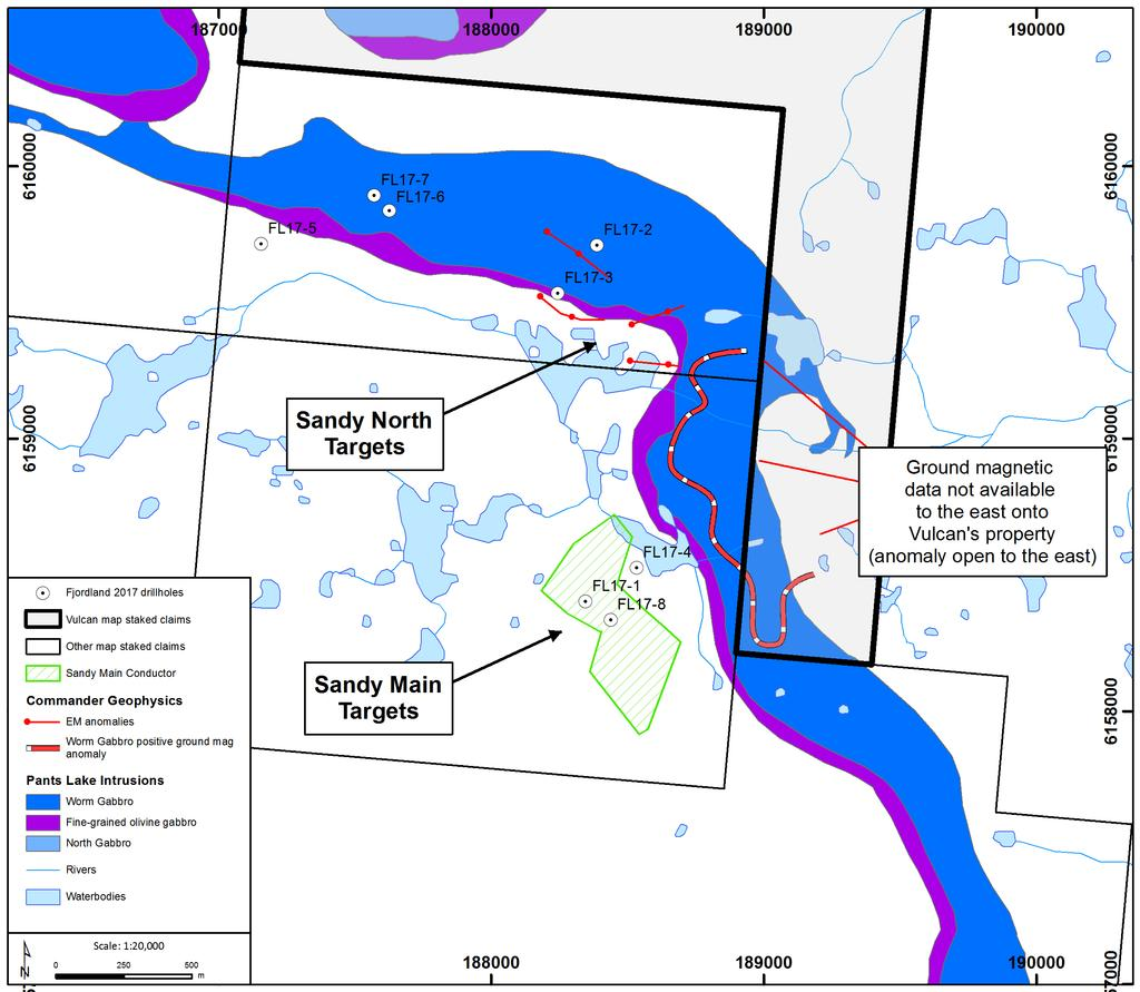 Sandy North and Sandy Main Targets: October 2017 drilling by Fjordland targeted these geophysical anomalies, < 200 meters from Vulcan s claims The Voisey s Bay South Project and other Vulcan projects
