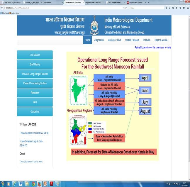 Long Range Forecast Products Available from IMD, Pune Website Based on Monsoon Mission CFS http://www.imdpune.gov.in/clim_pred_lrf_new/products.