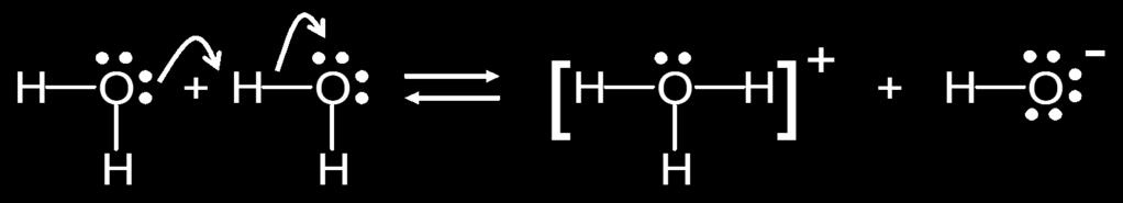 Acid-Base Properties of Water: Autoionization Water is slightly conductive due to the following reaction: 2H 2 O(l) H 3 O + (aq) +