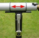 Place the two counter weights in approximately the same height. Place the telescope pointing approx. 45 degrees up and lock the altitude hand screws.