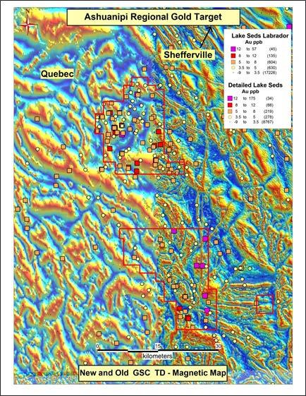 Ashuanipi Magnetics Recent Geological Survey of Canada magnetic survey covers large parts of the Ashuanipi claims Use of modern
