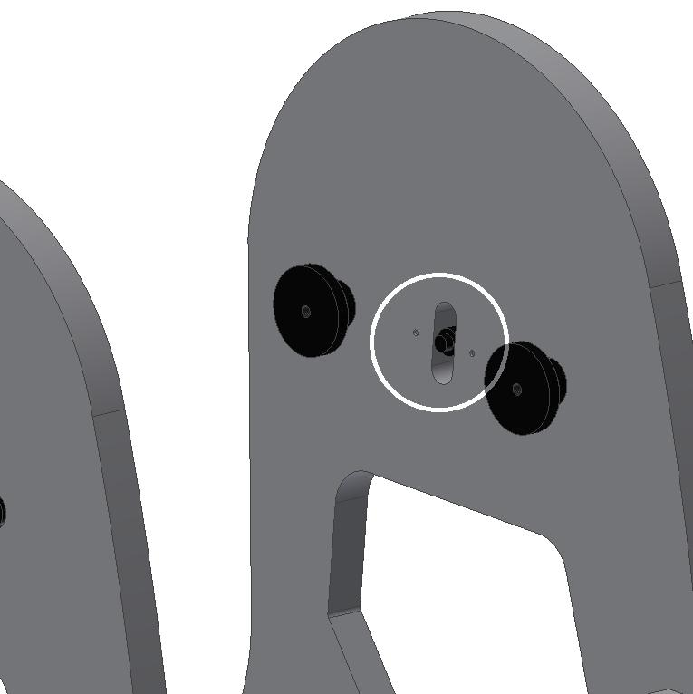 Use the supplied Allen wrench for this matter. Make sure the bearing cylinders match the correct side panel. The cylinder-shaped ones should be fitted to the right panel while the T-shaped (fig.