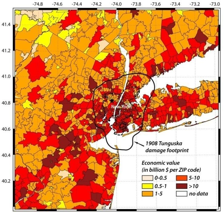 (a) (b) Figure 9: The 1908 Tunguska footprint centered over Manhattan with (a) economic exposure (building and