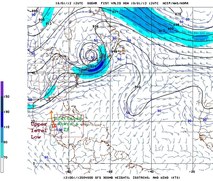 Figure 3 GFS Model 300 mb (30, 000ft) wind pattern analysis for 6:00 am Monday, Oct. 1, 2012 showing upper level low just east of Belize, drifting WNW during the next 24-36 hours.