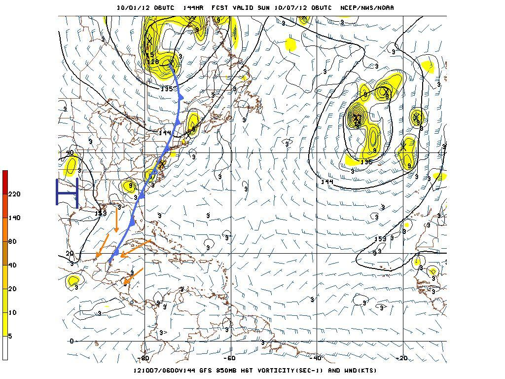 Figure 5 GFS Model vorticity projection at 850 mb (5,000 ft) valid for 12:00 am Sunday, October 7, 2012 showing another cold front boundary just edging its way into the NW Caribbean and Belize.