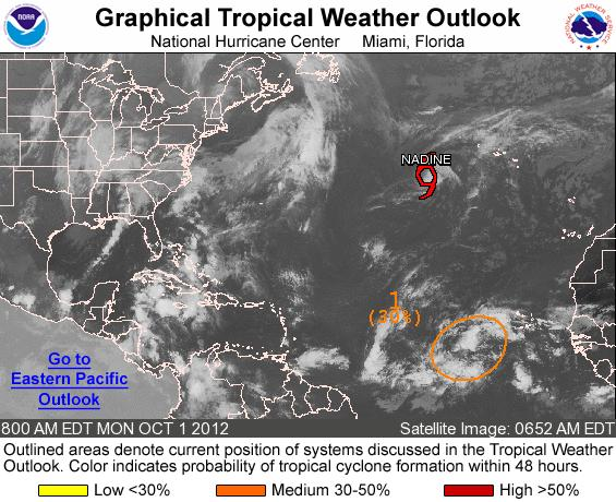 OUTLOOK FOR THE MAIN DEVELOPMENT REGION (MDR) OF THE TROPICAL ATLANTIC BASIN TROPICAL WEATHER OUTLOOK NWS NATIONAL HURRICANE CENTER MIAMI FL 800 AM EDT MON OCT 1 2012 FOR THE NORTH ATLANTIC.