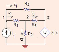 06 Analysis Methods Fig..3 The circuit for Problem..3 R ¼ R 4 ¼ X; R ¼ R 3 ¼ X; I ¼ A; f ¼ 3A=A: (b) Determine the node voltages using the following component values.