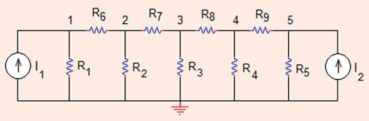0 Analysis Methods Fig..5 The circuit for Problem..5 Problem..5 Determine currents flowing through each resistor in the circuit shown in Fig..5 (ladder_node.xlsx).