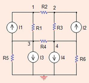 4 Analysis Methods Fig..8 The circuit for Problem..8 Problem..8 Find the node voltage values in the circuit shown in Fig..8. All resistors are Ω and I =4A,I =A,I 3 =A,I 4 = 4 A (Sim_Lin_Eq_Solve.