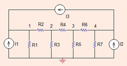 6 Analysis Methods Fig..30 The circuit for Problem..30 Problem..30 Find the node voltage values in the circuit shown in Fig..30. R =R6 =R7 =X, R =R3 =R5 =X, R4 =4X, I =A, I =A, I3 = 3 A (Sim_Lin_Eq_Solve.