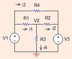 8 Analysis Methods Problem..3 Use node voltages method and determine all currents (ma) and V ðmvþ in the circuit shown in Fig..3. V ¼ V; V 3 ¼ V; R ¼ 5 X; R ¼ 3 X; R 3 ¼ 4 X; R 4 ¼ X: KCL at node : i ¼ V ¼ V; V 3 ¼ V; i 3 ¼ V V 3 ¼ ¼ 500 ma: R 4 i i i 4 ¼ 0!
