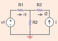 8 Analysis Methods Alternatively, v x ¼ V 3 þ i R 3 ¼ þ 0:5 ¼ :5V: Problem..7 In the circuit shown in Fig..4, determine the voltage drop across R using mesh analysis. R =3X, R =5X, R3 =4X, v =V,I =A.