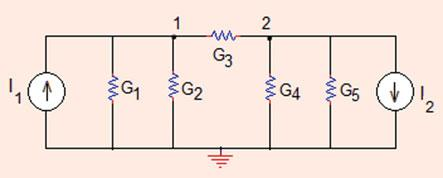 . Nodal Analysis 89 Nodal matrix equation of the circuit is obtained by applying analysis by inspection method, G þ G þ G 3 G 3 G 3 G 3 þ G 4 þ G 5 V V ¼ I I 6 8 V V!