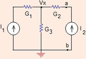 .3 Linearity and Superposition 4 Fig..56 The circuit for Problem.3. Problem.3. (a) Determine the node voltage in the circuit shown in Fig.