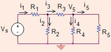 44 Analysis Methods Fig..60 The circuit for Problem.3.7 i R ¼ V A R ¼ 40 A i 0 s ¼ i R þ i AB ¼ 40 þ 9 ¼ 69 A! i0 s i s ¼ i! i ¼ 69 ¼ 0:0834 A V C ¼ i 4 ¼ 0:04734 V: Problem.3.7 Find the current through resistor R 5 in the circuit shown in Fig.