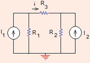 9 Calculate the value of currents through R 3 and R in the circuit shown in Fig..6. Use superposition.